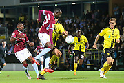 Aston Villa midfielder Albert Adomah (37) latches onto a ball in the box during the second round or the Carabao EFL Cup match between Burton Albion and Aston Villa at the Pirelli Stadium, Burton upon Trent, England on 28 August 2018.