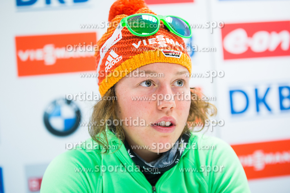 Laura Dahlmeier (GER) at press conference after the Women 7,5 km Sprint at day 2 of IBU Biathlon World Cup 2015/16 Pokljuka, on December 18, 2015 in Rudno polje, Pokljuka, Slovenia. Photo by Ziga Zupan / Sportida