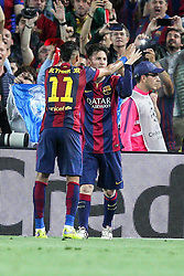 06.05.2015, Camp Nou, Barcelona, ESP, UEFA CL, FC Barcelona vs FC Bayern Muenchen, Halbfinale, Hinspiel, im Bild l-r: Torjubel von Neymar #11 (FC Barcelona) und Lionel Messi #10 (FC Barcelona) // during the UEFA Champions League semi finals 1st Leg match between FC Barcelona and FC Bayern Munich at the Camp Nou in Barcelona, Spain on 2015/05/06. EXPA Pictures © 2015, PhotoCredit: EXPA/ Eibner-Pressefoto/ Kolbert<br /> <br /> *****ATTENTION - OUT of GER*****
