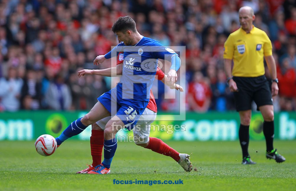 Picture by Tom Maddick/Focus Images Ltd 07854 863454.04/05/2013.david Nugent of Leicester City is put under pressure during the npower Championship match at the City Ground, Nottingham.