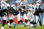 NASHVILLE, TN - NOVEMBER 29:  Marcus Mariota #8 of the Tennessee Titans drops back to pass during a game against the Oakland Raiders at Nissan Stadium on November 29, 2015 in Nashville, Tennessee.  The Raiders defeated the Titans 24-21.  (Photo by Wesley Hitt/Getty Images) *** Local Caption *** Marcus Mariota