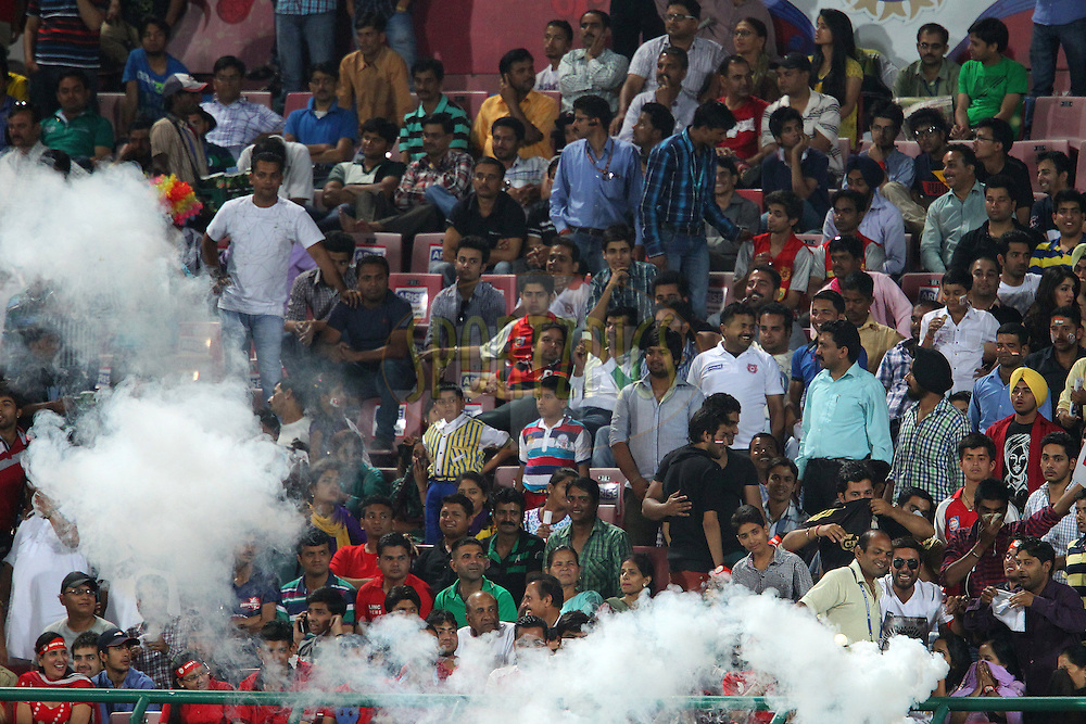 Insect repellant is sprayed to keep the mosquitos away during match 67 of the Pepsi Indian Premier League between The Kings XI Punjab and the Delhi Daredevils held at the HPCA Stadium in Dharamsala, Himachal Pradesh, India on the on the 16th May 2013..Photo by Ron Gaunt-IPL-SPORTZPICS ..Use of this image is subject to the terms and conditions as outlined by the BCCI. These terms can be found by following this link:..http://www.sportzpics.co.za/image/I0000SoRagM2cIEc