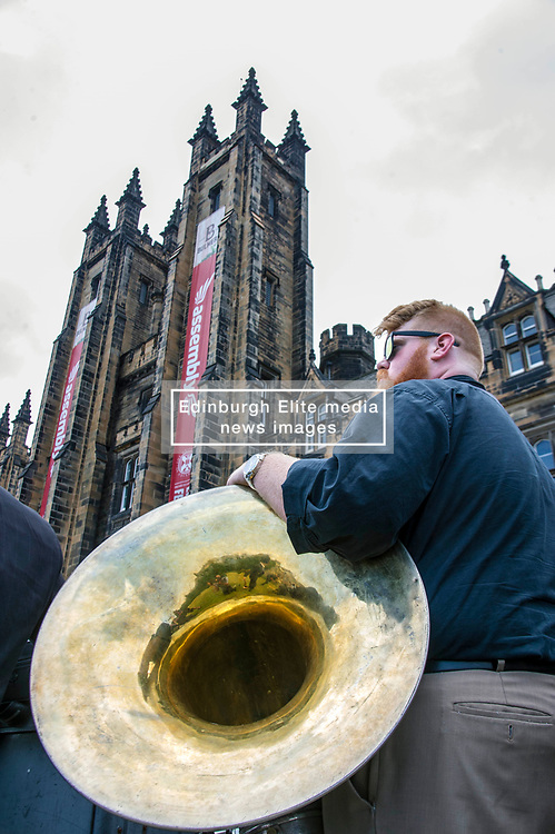 Pictured: Soul Brass Band<br /> New Orleans traditional brass band Soul Brass Band enjoyed the fresh air outside the festival's newest flagship venue, the Assembly Hall. Assembly Hall, Mound Place<br /> <br /> Ger Harley | EEm 13 July 2018