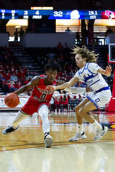 NORMAL, IL - February 22: DJ Horne defended by Noah Thomas during a college basketball game between the ISU Redbirds and the Drake Bulldogs on February 22 2020 at Redbird Arena in Normal, IL. (Photo by Alan Look)