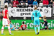 ALKMAAR - 11-12-2016, AZ -  Feyenoord, AFAS Stadion, Feyenoord speler Jan Arie van der Heijden (l) scoort hier de 0-2, doelpunt, AZ speler Stijn Wuytens, AZ keeper Sergio Rochet