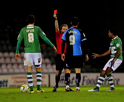 Wycombe Wanderers' Matt Spring gets sent off - Photo mandatory by-line: Dougie Allward/JMP  - Tel: Mobile:07966 386802 04/12/2012 - SPORT - FOOTBALL - Johnstone's Paint Trophy  -  Yeovil  -  Huish Park  -  Yeovil Town V Wycombe Wanderers