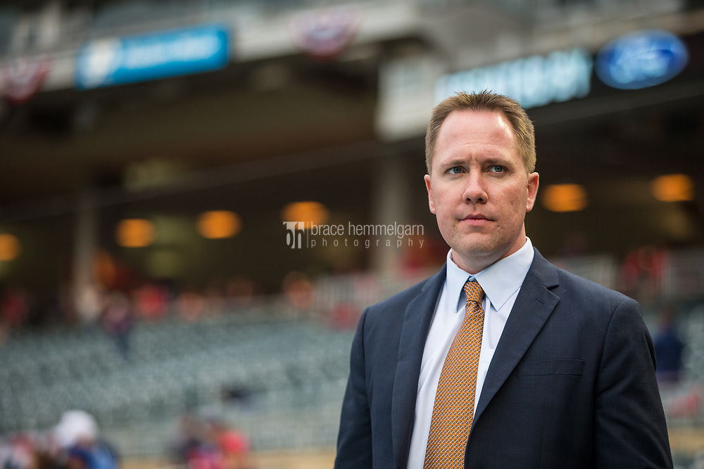 MINNEAPOLIS, MN- APRIL 3: Minnesota Twins chief baseball officer Derek Falvey prior to the game against the Kansas City Royals on April 3, 2017 at Target Field in Minneapolis, Minnesota. The Twins defeated the Royals 7-1. (Photo by Brace Hemmelgarn) *** Local Caption *** Derek Falvey