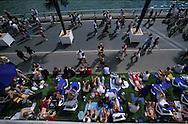 France. Paris. 1st district.. Urban beach on the Seine river quays  , quai du Louvre