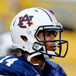 Sep 21, 2013; Baton Rouge, LA, USA; Auburn Tigers quarterback Nick Marshall (14) before a game against the LSU Tigers at Tiger Stadium. Mandatory Credit: Derick E. Hingle-USA TODAY Sports