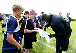 Biyi Alo of Worcester Warriors signs autographs as Worcester Warriors host a summer holiday rugby camp at Malvern College - Mandatory by-line: Robbie Stephenson/JMP - 16/08/2017 - RUGBY - Malvern College - Worcester, England - Worcester Warriors - Malvern Rugby Camp