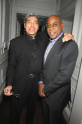Left to right, ANTHONY JONES and AINSLEY HARRIOTT at a party to promote The Landau at The Langham, Portland Place, London W1 on 7th February 2008.<br />