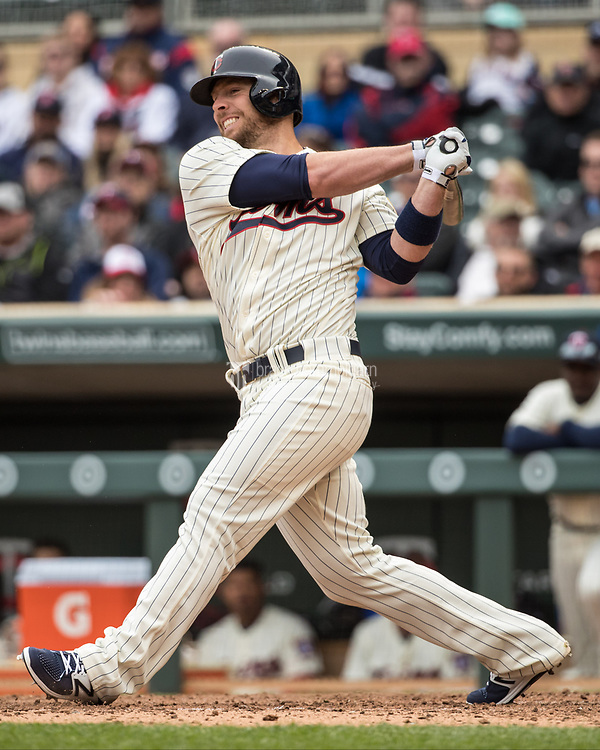 MINNEAPOLIS, MN- APRIL 5: Chris Gimenez #38 of the Minnesota Twins bats against the Kansas City Royals on April 5, 2017 at Target Field in Minneapolis, Minnesota. The Twins defeated the Royals 9-1. (Photo by Brace Hemmelgarn) *** Local Caption *** Chris Gimenez