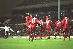 London, England - Monday, December 2, 1996: Liverpool players defend a free-kick from Tottenham Hotspur's Teddy Sherringham at White Hart Lane. (Pic by David Rawcliffe/Propaganda)