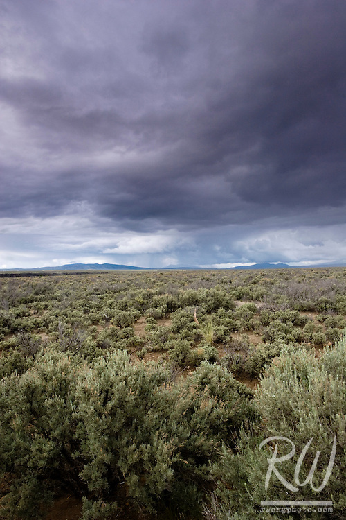 High Desert near Taos with Sangre de Cristo Mountains in Distance, New Mexico