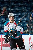 KELOWNA, CANADA - APRIL 14: Devante Stephens #21 of the Kelowna Rockets warms up against the Portland Winterhawks on April 14, 2017 at Prospera Place in Kelowna, British Columbia, Canada.  (Photo by Marissa Baecker/Shoot the Breeze)  *** Local Caption ***