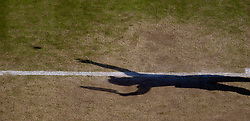 LONDON, ENGLAND - Tuesday, July 1, 2008: The shadow of Nicole Vaidisova (CZE) during the Ladies' Singles Quarter-Final on day eight of the Wimbledon Lawn Tennis Championships at the All England Lawn Tennis and Croquet Club. (Photo by David Rawcliffe/Propaganda)