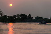Sunset over Cuiaba River<br /> Pantanal, BRAZIL, South America