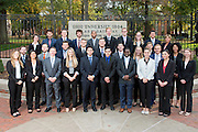 The Emerging Leaders from Ohio University's College of Business stand in front of the College Gateway in Athens, Ohio on October 19, 2016.