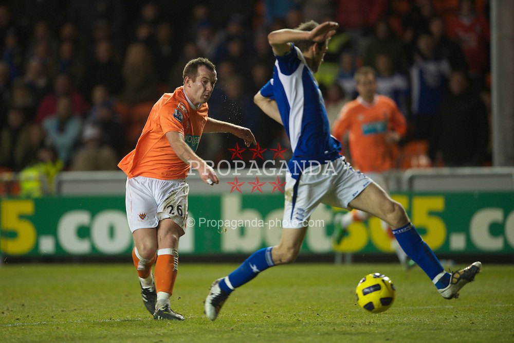 BLACKPOOL, ENGLAND - Tuesday, January 4, 2011: Blackpool's Charlie Adam sees his shot hit the Birmingham City post during the Premiership match at Bloomfield Road. (Pic by: David Rawcliffe/Propaganda)