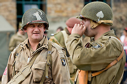 Reenactors portraying members of the US 101st Airborne (502nd) Parachute Infantry Regiment at Elsecar 1940's Wartime Weekend.Sheffield 5 September 2010 .Images © Paul David Drabble