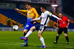 Chris Dagnall of Bury cuts out a shot from Timi Elsnik of Mansfield Town - Mandatory by-line: Ryan Crockett/JMP - 04/12/2018 - FOOTBALL - One Call Stadium - Mansfield, England - Mansfield Town v Bury - Checkatrade Trophy