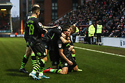 Forest Green Rovers Matty Stevens(9) scores a goal 0-3 and celebrates during the EFL Sky Bet League 2 match between Leyton Orient and Forest Green Rovers at the Matchroom Stadium, London, England on 23 November 2019.