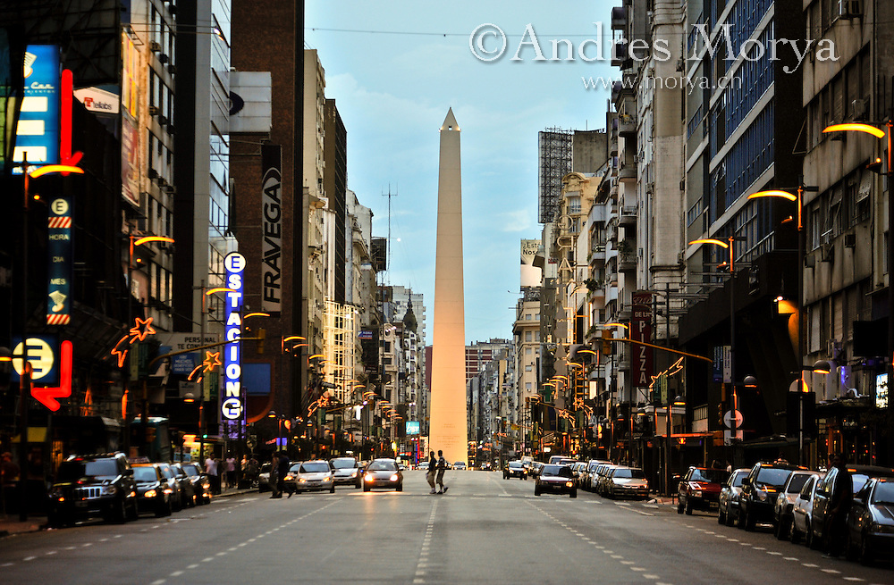 Obelisco or Obelisk in Plaza de la Republica, view from Calle Corrientes leading to Obelisk, Capital Federal Buenos Aires Argentina Image by Andres Morya