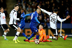 Islam Slimani of Leicester City misses the chance to score a goal - Mandatory by-line: Robbie Stephenson/JMP - 08/02/2017 - FOOTBALL - King Power Stadium - Leicester, England - Leicester City v Derby County - Emirates FA Cup fourth round replay