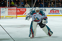 KELOWNA, CANADA - FEBRUARY 12:  James Porter #1 of the Kelowna Rockets skates to the bench for a penalty call against the Victoria Royals on February 12, 2018 at Prospera Place in Kelowna, British Columbia, Canada.  (Photo by Marissa Baecker/Shoot the Breeze)  *** Local Caption ***