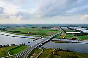 Nederland, Overijssel, Fleovoland, 10-10-2014; Ramspolbrug en N50, rechts Zwarte Meer links Ketelmeer. Balgstuw bij Ramspol.<br /> Waterway next to one of the new polders.<br /> luchtfoto (toeslag op standard tarieven);<br /> aerial photo (additional fee required);<br /> copyright foto/photo Siebe Swart