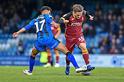 Bradford City midfielder Jack Payne (10) and Gillingham FC midfielder  David Nasseri (17) during the EFL Sky Bet League 1 match between Gillingham and Bradford City at the MEMS Priestfield Stadium, Gillingham, England on 27 October 2018.