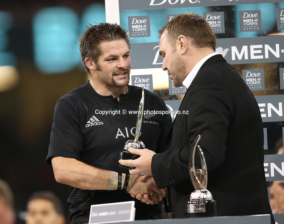 Northern Tour - Wales v All Blacks, 22 November 2014<br /> All Blacks' Richie McCaw receives the Trophy for World Rugby Team of the Year<br /> Mandatory Credit &copy;Photosport/Inpho/Billy Stickland