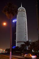 """08 APR 2013, DOHA/QATAR<br /> Qatar World Trade Center (hinten) und Doha Tower, auch """"Condom Tower"""" (vorne rechts), gesehen von der Al Corniche Street<br /> IMAGE: 20130408-01-035<br /> KEYWORDS: Katar, Hochaus, Wolkenkratzer, Tower, Nacht, night, West Bay, Nacht, night, Nachtaufnahme, Hochhaeuser, Hochäuser, Skyscraper, West Bay, Dwontown Doha"""