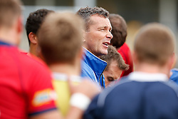 Bristol First Team Coach Sean Holley looks on in a huddle with his players after they record a 13-26 victory - Photo mandatory by-line: Rogan Thomson/JMP - 07966 386802 - 14/09/2014 - SPORT - RUGBY UNION - Leeds, England - Headingley Carnegie Stadium - Yorkshire Carnegie v Bristol Rugby - Greene King IPA Championship.