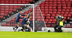 Queen's Park Gregor Forthingham scoring their goal. half time : Queen's Park 1 v 1 Airdrie, Scottish Football League Division One game played 7/1/2017 at Hampden.