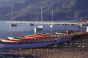 Boats on shoreline in Pokhara, Nepal