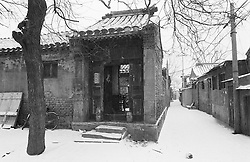 Traditional architecture of courtyard house in a Beijing hutong during winter