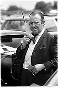 Sir Philip Payne-Gallwey on telephone. Derby Day. Epsom. 1 June 1988. SUPPLIED FOR ONE-TIME USE ONLY> DO NOT ARCHIVE. ? Copyright Photograph by Dafydd Jones 248 Clapham Rd.  London SW90PZ Tel 020 7820 0771 www.dafjones.com