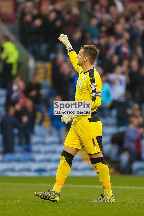 Tom Heaton of Burnley  celebrates second goal during Burnley v Huddersfield Town, Sky Bet Championship, 31 October 2015,  (c) Jackie Meredith/SportPix.org.uk