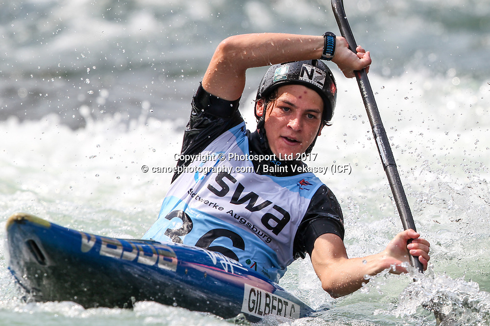 Callum Gilbert of New Zealand.<br /> 2017 ICF Canoe Slalom World Cup 2 in Augsburg, Germany held 23-25 June 2017.<br /> Copyright photo: Balint Vekassy / www.photosport.nz