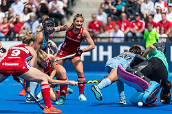 Lily Owsley of Great Britain Women equalises during the 2019 Women's FIH Pro League match at Lee Valley Hockey Centre, Stratford<br /> Picture by Simon Parker/Focus Images Ltd <br /> 18/05/2019