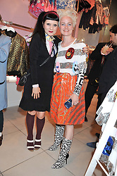 Left to right, DJ PRINCESS JULIA and LOUISE GRAY at a party to celebrate the launch of Louise Gray's make-up and clothing collections for Topshop held at Topshop Edited, 286 Regent Street, London on 22nd August 2012.