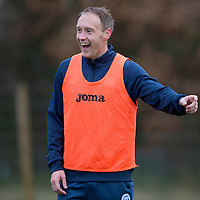 St Johnstone Training…  11.12.15<br />Steven Anderson having fun in training this morning at McDiarmid Park ahead of Sunday's game against Celtic.<br />Picture by Graeme Hart.<br />Copyright Perthshire Picture Agency<br />Tel: 01738 623350  Mobile: 07990 594431