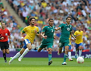 Wembley, Greater London, GREAT BRITAIN..Description: Left to right: Brazilian: Alexandre PATO, Carlos SALCIDO and Diego REYES, chasing the ball.   2012 Olympic Football Men's Final: Brazil vs Mexico [Gold medal Game] at Wembley Stadium, London..16:39:49  Saturday   11/08/2012  [Mandatory Credit: Peter Spurrier/Intersport Images]  Wembley, Great Britain,