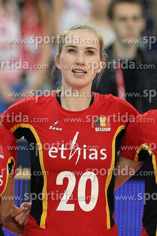04.01.2014, Atlas Arena, Lotz, POL, FIVB, Damen WM Qualifikation, Belgien vs Schweiz, im Bild MAUD CATRY SYLWETKA GLOWKA PORTRET // MAUD CATRY SYLWETKA GLOWKA PORTRET during the ladies FIVB World Championship qualifying match between Belgium and Switzerland at the Atlas Arena in Lotz, Poland on 2014/01/05. EXPA Pictures &copy; 2014, PhotoCredit: EXPA/ Newspix/ Maciej Goclon<br /> <br /> *****ATTENTION - for AUT, SLO, CRO, SRB, BIH, MAZ, TUR, SUI, SWE only*****