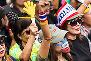 04 AUGUST 2013 - BANGKOK, THAILAND:People shout anti-Thaksin slogans during a rally against former Prime Minister Thaksin Shinawatra and the current Prime Minister, Yingluck Shinawatra, his sister. About 2,000 people, members of the  People's Army against Thaksin Regime, a new anti-government group, protested in Lumpini Park in central Bangkok. The protest was peaceful but more militant protests are expected later in the week when the Parliament is expected to debate an amnesty bill which could allow Thaksin Shinawatra, the exiled former Prime Minister, to return to Thailand.      PHOTO BY JACK KURTZ