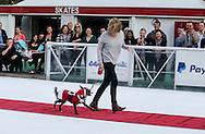 2月9日,在美国洛杉矶,为迎接节日到来,举办冰上節日狗狗服装造型比赛。一名狗主人跟她的狗走在冰上红地毯比赛。(新华社发 赵汉荣摄)<br /> A dog owner walks with her pet with costume in a red carpet strut across the ice rink during a holiday costume contest in Los Angeles, he United States, on Wednesday, December 9, 2015.   (Xinhua/Zhao Hanrong)(Photo by Ringo Chiu/PHOTOFORMULA.com)<br /> <br /> Usage Notes: This content is intended for editorial use only. For other uses, additional clearances may be required.