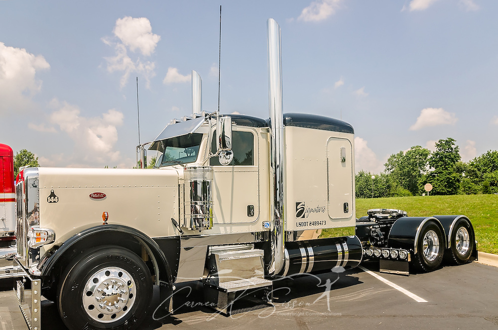A 2015 Peterbilt 389 waits to be judged at the 34th annual Shell Rotella SuperRigs truck beauty contest, June 11, 2016, in Joplin, Missouri. SuperRigs, organized by Shell Oil Company, is an annual beauty contest for working trucks. Approximately 89 trucks entered this year's competition. (Photo by Carmen K. Sisson/Cloudybright)