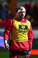 Dragons' Rynard Landman during the pre match warm up<br /> <br /> Photographer Craig Thomas/Replay Images<br /> <br /> Guinness PRO14 Round 13 - Scarlets v Dragons - Friday 5th January 2018 - Parc Y Scarlets - Llanelli<br /> <br /> World Copyright &copy; Replay Images . All rights reserved. info@replayimages.co.uk - http://replayimages.co.uk