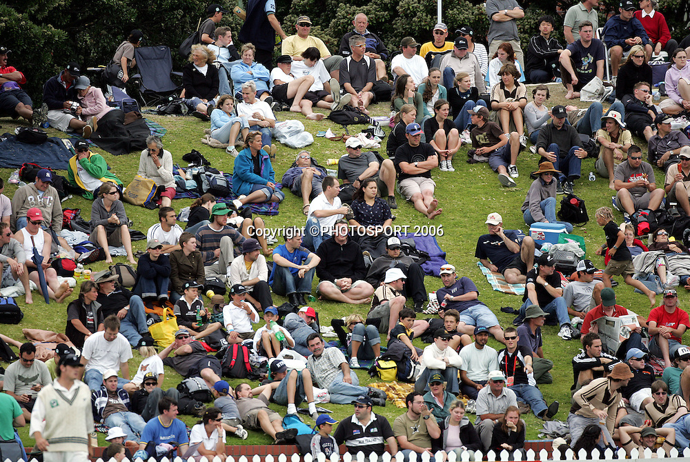 The crowd at the Basin Reserve on day 3 of the 2nd cricket test between New Zealand and West Indies at the Basin Reserve, Wellington, on Sunday 19 March, 2006. Photo: Andrew Cornaga/PHOTOSPORT<br /><br /><br />150837